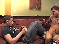 Gay Foot- & Blowjob On A Sofa