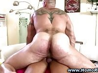 Straighty dude fucked by bear masseur