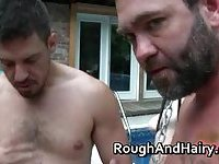 Outdoor threesome gay scene with dudes sucking stiff rod