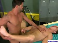 Muscled straight jock amateur drilled