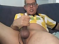 Gay cock wanks off and cumming