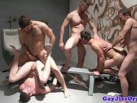 Piss fetish gay hunk empties his bladder