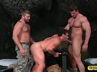 Yummy threesome gays in uniform are swapping blowjobs and anal fuck