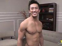 Hot asian whacking off