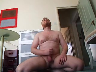 Steamy masturbating of smoking dude