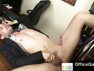 Office studs shoot cum on eachother after anal sex