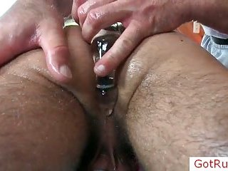 Hot gay stud getting his cock oiled and massaged