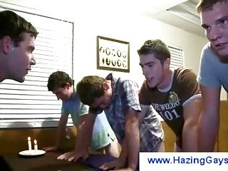 Hazing gay confronts boys with his cock