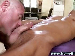 Gay hunk gives straight guy anal and eats his cum after massage