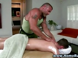 Straight guy gets a massage from bear