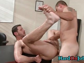These guys are horny and hard in the office