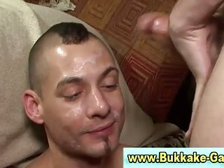 Muscley gay gets bukkake after being anal fucked