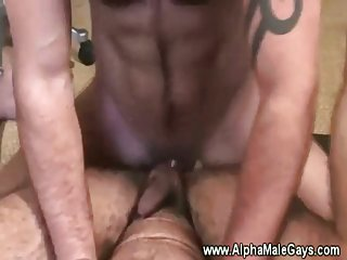 Tattooed stud giving anal then cumshot facial