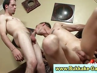 Dirty bukkake gay gets facial
