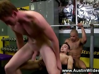 This jock loves to fuck with two guys