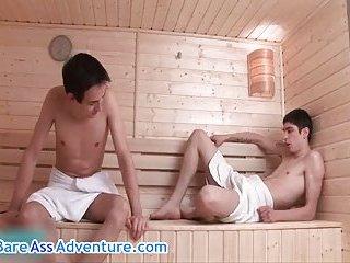 Falco White and Luke Taylor hardcore fucking in bathouse