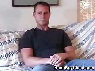 Guy gets naked and strokes his big dick