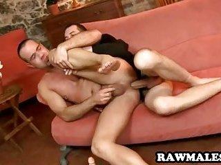 Hot uncut stud getting his ass fucked hard bareback