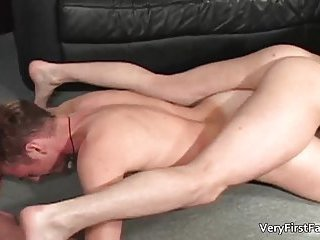 Great gay threesome scene with a lot of cock sucking and butt fu