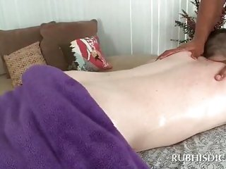 Gay hottie teasing straight dude with a butt massage