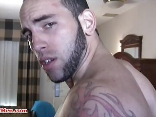 Buff Latino with a Big uncut dick