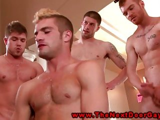 Muscle amateur in group riding cock