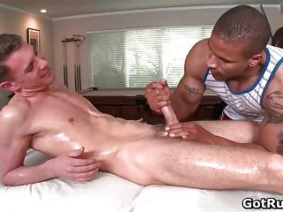 Sexy twink Trace gets hot blowjob and gets boned on massage
