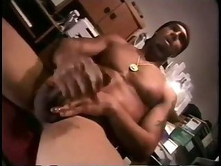 Solo black gay jerking and cumming