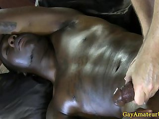 Straight black guy cumming at massage