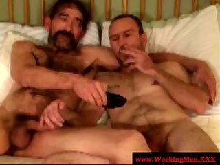 Bluecollar gays share a smoke after anal