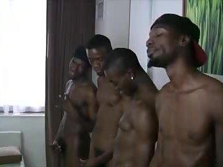 4 Big  Black Cocks Fuck 1 Lucky White Ass 3