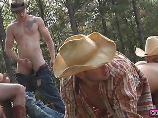 Five gay cowboys have a wild orgy outdoor