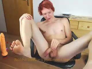 Redhead boy toying ass